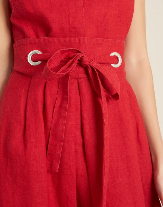 Poppy red linen dress with belt PhotoZ | 1-2-3