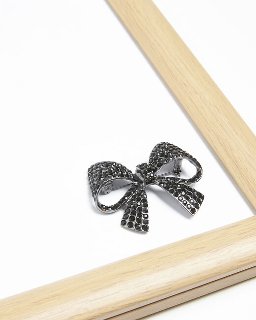 Broche noeud strass noirs Ximena (2) - 1-2-3