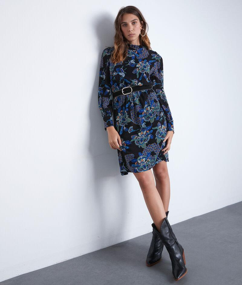 Robe courte imprimée bleue et noire Sixteen PhotoZ | 1-2-3