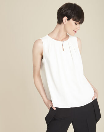 Fanette ecru top with jewelled detailing ecru.