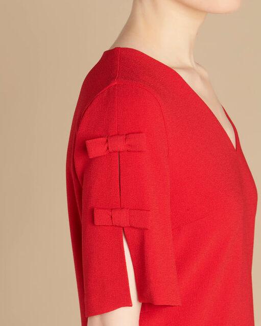 Robe rouge crêpe à noeuds Ivoire (2) - 1-2-3