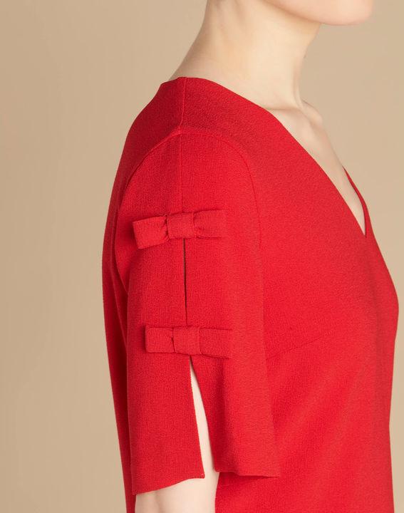 Rotes Krepp-Kleid mit Schleifen Ivoire (2) - 1-2-3