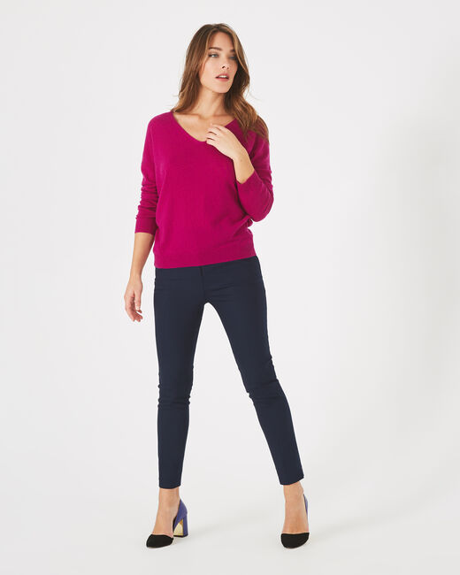 Piment fuchsia cashmere sweater with V-neck (1) - 1-2-3
