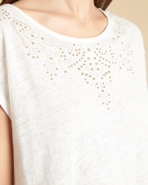 Tee-shirt écru en lin à motifs cloutés Emireille (1) - 1-2-3