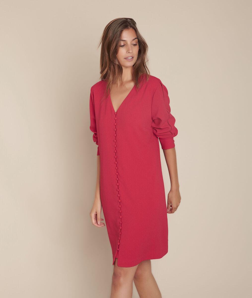 rotes kleid mit bezogenen knöpfen isaure