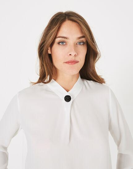 Weiße Hemdbluse mit Schmuckdetail Darling (3) - 1-2-3