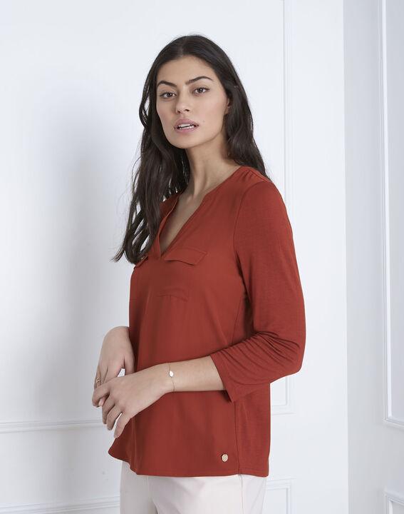 Mahoniebruine blouse uit twee materialen Genna (2) - 37653