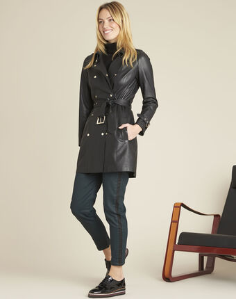Buttoned black leather trench coat black.