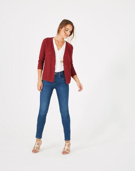 Palissade burgundy cardigan in an openwork knit PhotoZ | 1-2-3
