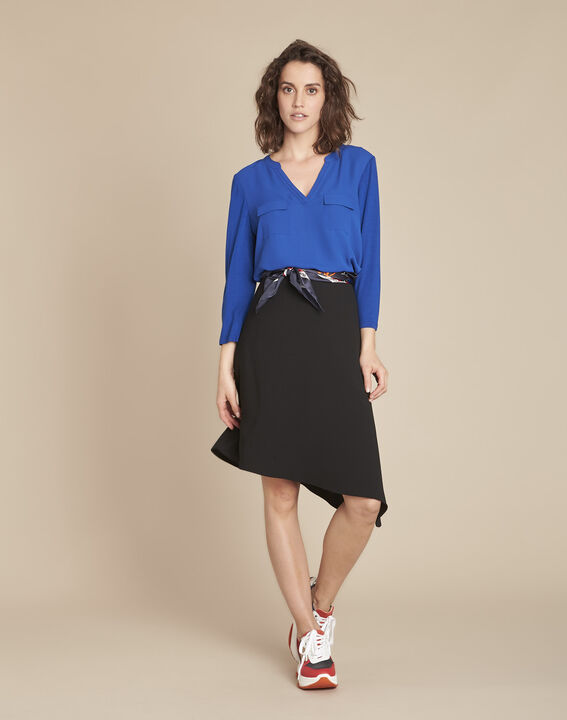 Blauwe blouse uit twee materialen Genna (2) - Maison 123