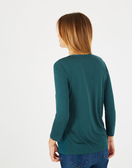 <br />Bianca forest green T-shirt with 3/4 length sleeves (4) - 1-2-3