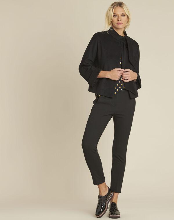 Schwarze Jacke mit Schal aus Wollgemisch Soft (2) - 1-2-3