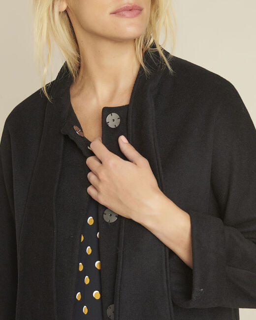 Soft black wool mix jacket with scarf (2) - 1-2-3