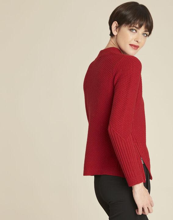 Pull rouge col montant laine mélangée Brindille (4) - 1-2-3