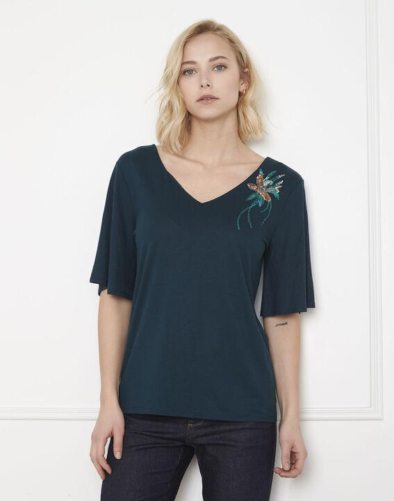 Tee-shirt vert fleur brodée Pearl (1) - Maison 123