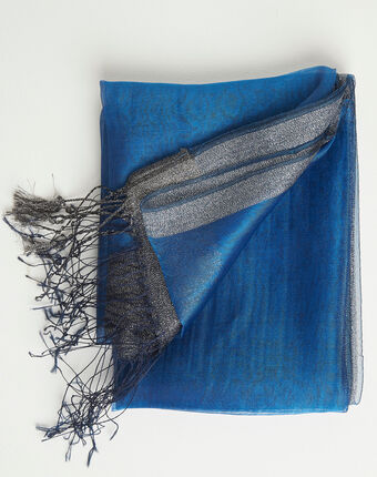 Annie shiny royal blue scarf in a silk mix royal blue.