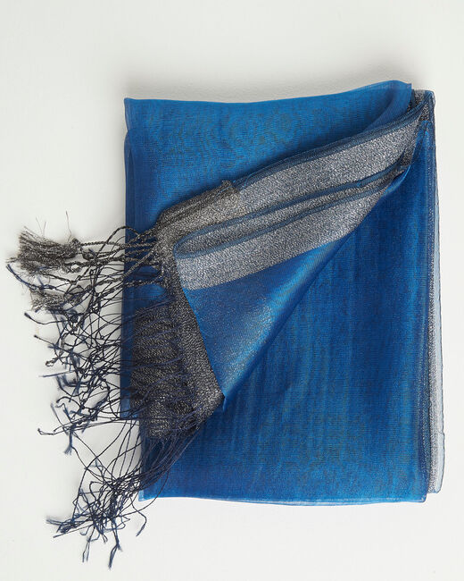 Annie shiny royal blue scarf in a silk mix (2) - 1-2-3