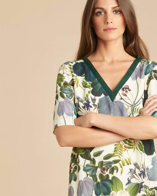 Perline forest green dress with print (2) - 1-2-3