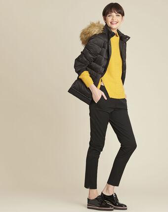 Pull jaune col montant laine mélangée brindille ocre.