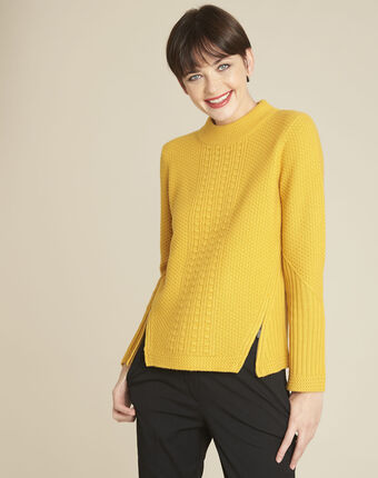 Brindille yellow high collar wool mix pullover ochre.