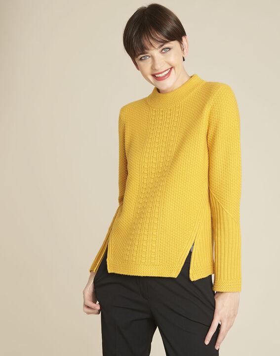Pull jaune col montant laine mélangée Brindille PhotoZ | 1-2-3