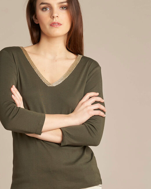 Etincellant khaki and gold T-shirt  with 3/4 length sleeves (1) - 1-2-3