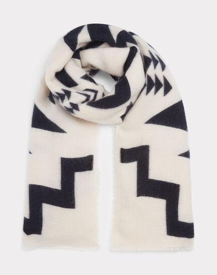 Weißer und marineblauer Schal mit Print Edison (1) - 1-2-3