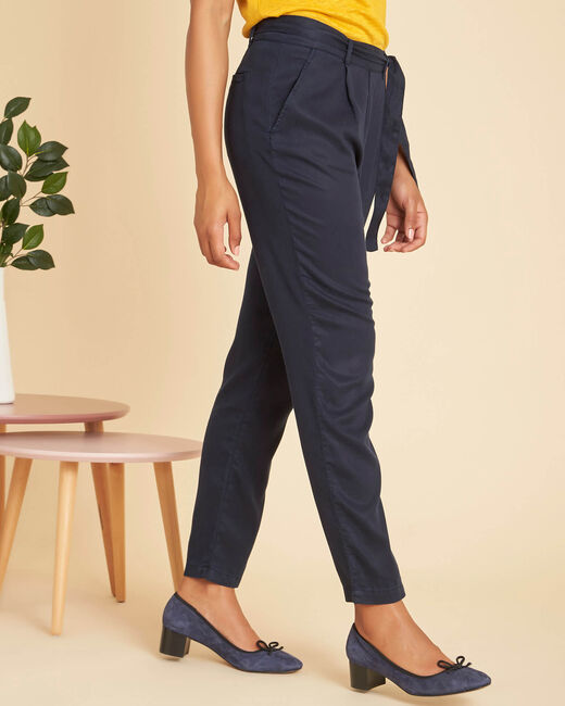 Safari navy trousers with a lovely drape and tie belt (1) - 1-2-3