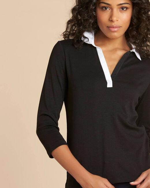 Tee shirt noir et blanc col chemisier Bowling (2) - 1-2-3