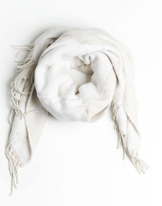Beige sjaal met sterrenmotief en franjes Frise PhotoZ | 1-2-3