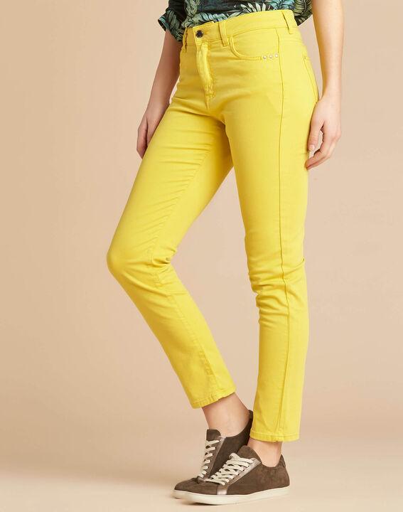 Zitronengelbe Slim-Fit-Jeans normale Leibhöhe Vendome (3) - 1-2-3