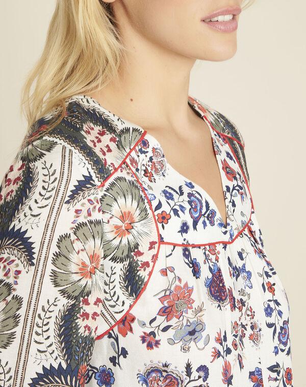 Ecru blouse met bloemenprint Cécile (2) - 37653