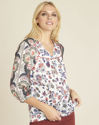 Cécile ecru blouse with floral print ecru.