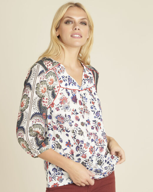 Cécile ecru blouse with floral print (2) - 1-2-3