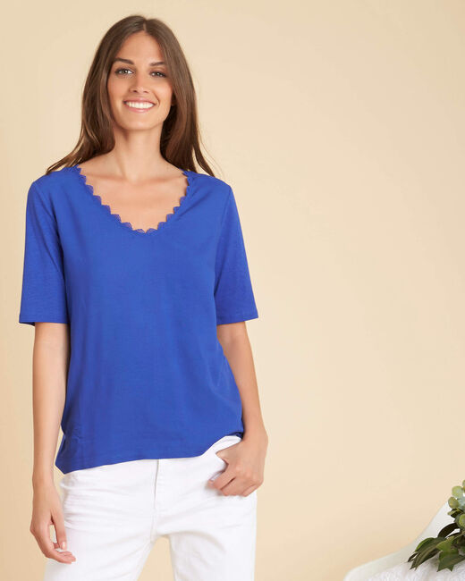Gigi royal blue dual fabric top with lace neckline (2) - 1-2-3