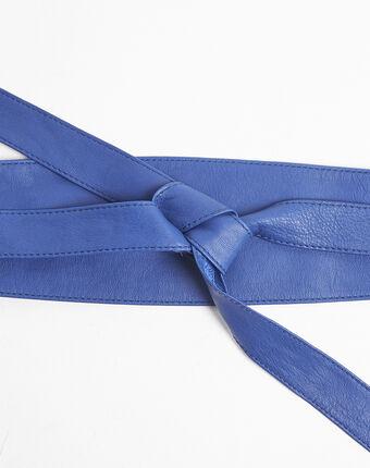 Ceinture large bleue en cuir à nouer raul bleu.