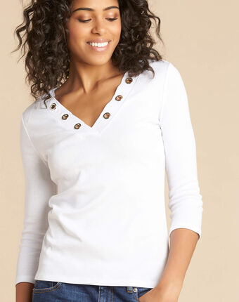 Basic white t-shirt with rounded neckline and eyelets white.
