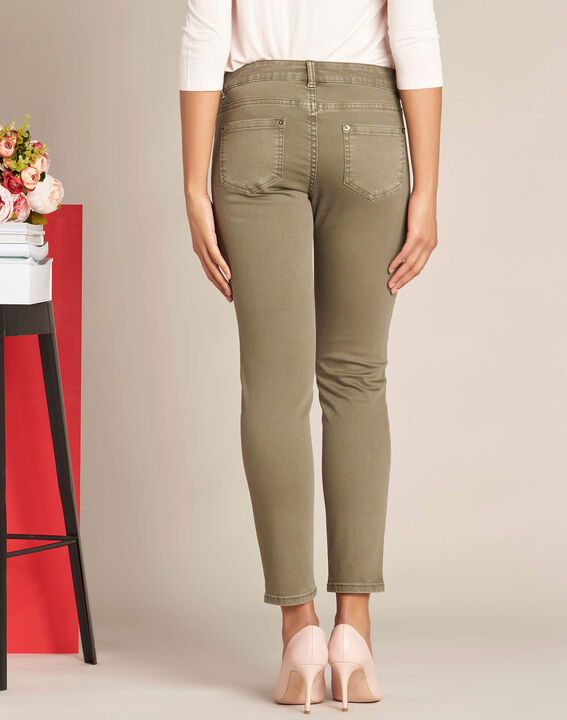 Turenne khaki slim-cut, low-waisted 7/8 length jeans with sequins (4) - 1-2-3