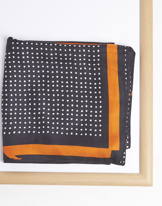 Flocon black and orange polka dot silk square PhotoZ | 1-2-3