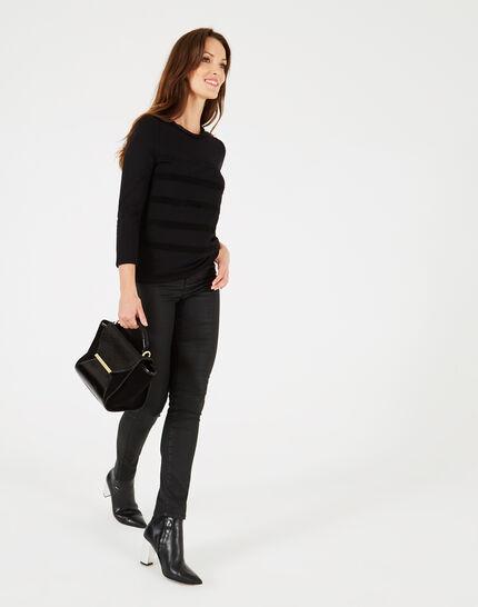 Tee-shirt noir rayures velours Bob (1) - 1-2-3