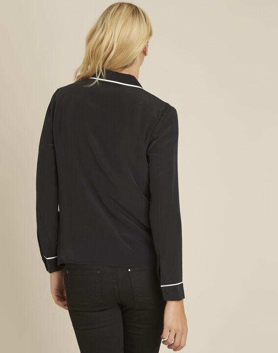 Zwart overhemd van zijde met contrasterende bies Celine (4) - 37653