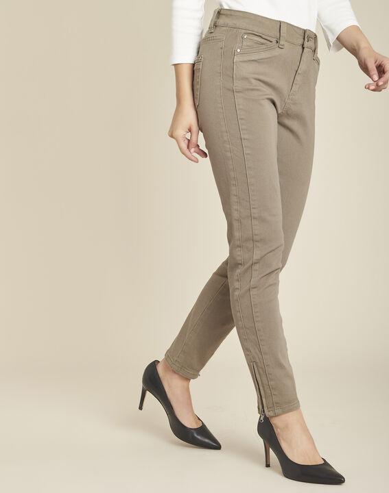Lichtgroene slim fit 7/8-jeans met ritsen Opéra PhotoZ | 1-2-3