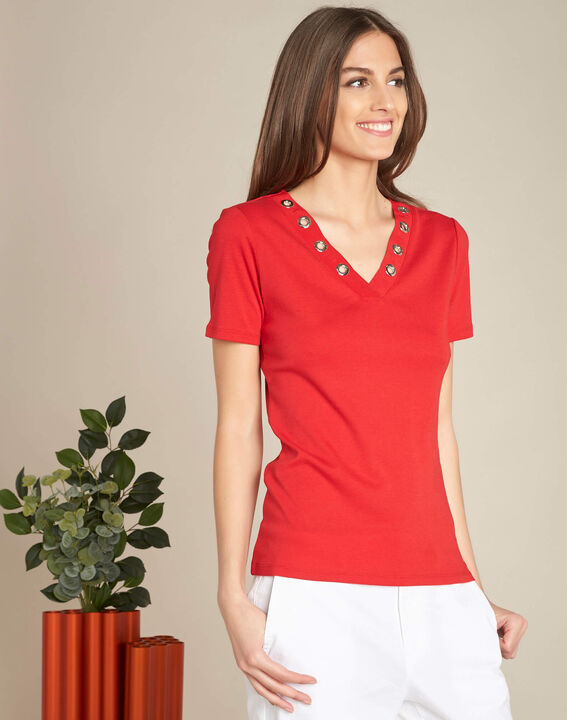Basic red T-shirt with eyelets on the V-neckline (3) - 1-2-3