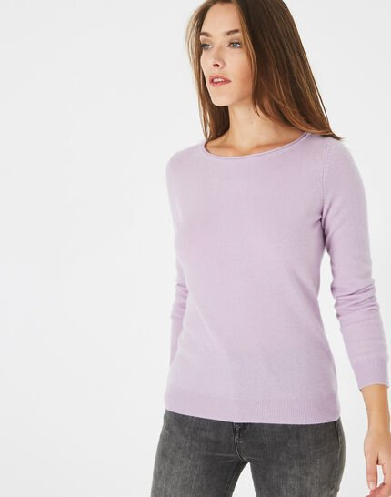 Petunia mauve cashmere sweater with round neck (1) - 1-2-3