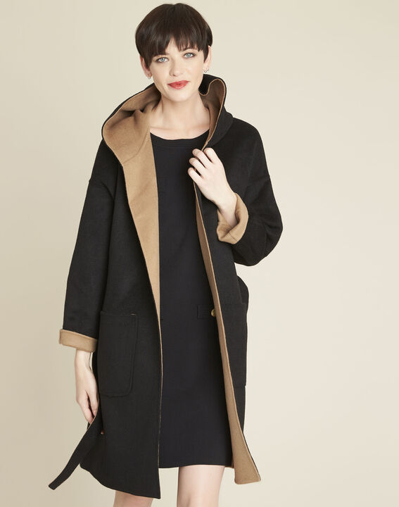 Elan camel double-breasted hooded coat (1) - Maison 123
