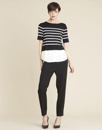 Schwarzer streifen-pullover brise schwarz.