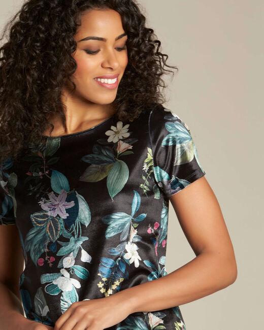 T-shirt noir imprimé fleuri Evy (2) - 1-2-3