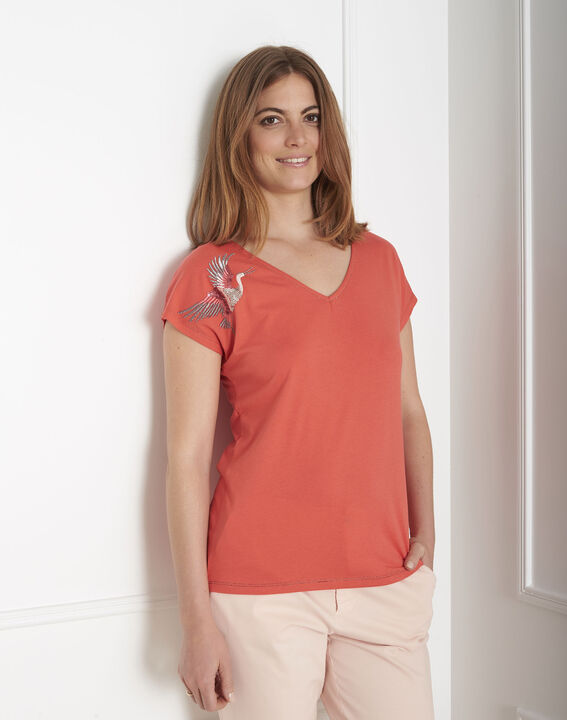 Tee-shirt orange brodé Prue (1) - Maison 123