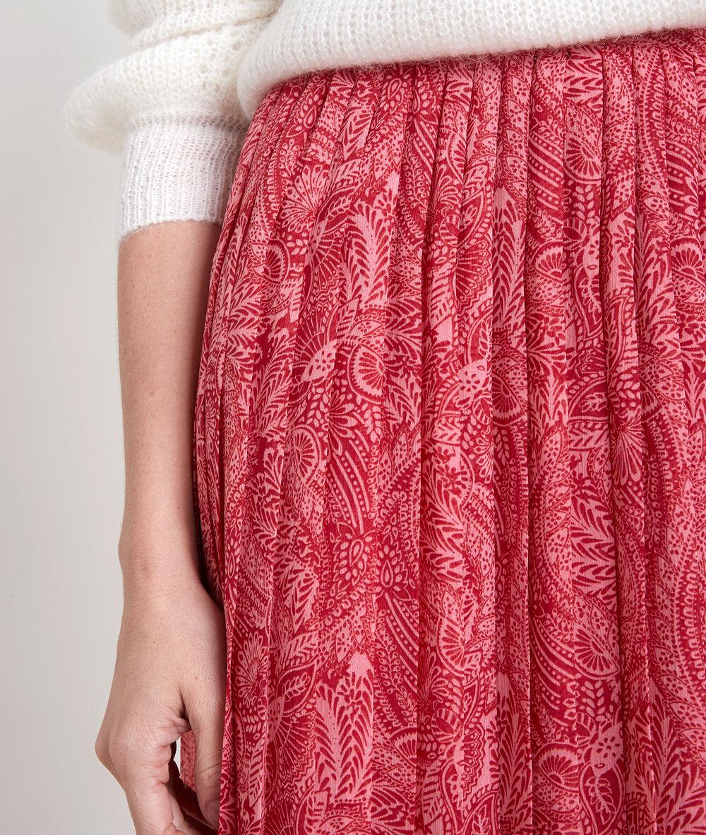 Jupe longue imprimée plissée eresse bois de rose.