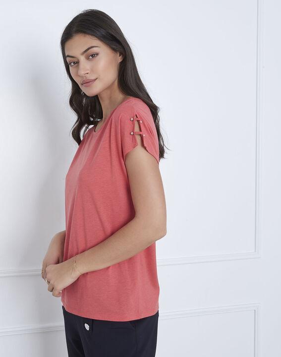 Tee-shirt rose détails épaules Palmbeach (2) - Maison 123